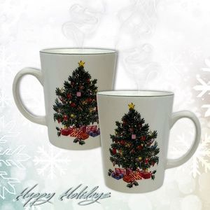 Set of 4 Christmas Tree Mugs by GIBSON China